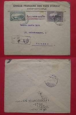 TURKEY to AUSTRIA WIEN registered cover KARA KEUI 1920 stamps french bank