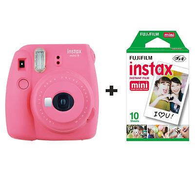 Fuji Fujifilm Instax Mini 9 Instant Camera with 10 Shots - Flamingo Pink