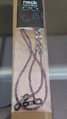 Glasses Spectacle Chain Neck Noodles Bronze Beads, Coloured Hearts