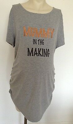 [348] Red Herring Maternity Grey Short Sleeved Top Size 20