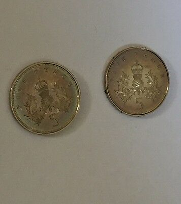 1982 & 1984 Proof Large Size Five Pence Coin Unc Uncirculated 5p (E2)