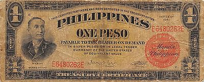 Philippines  1 Peso  Series of 1941  Circulated Banknote LB0617jw