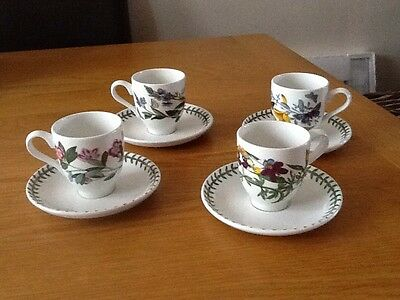 PORTMEIRION BOTANIC GARDEN SET of 4COFFEE CUPS AND SAUCERS  EXCELLENT CONDITION