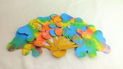 Vintage Hand Made Paper and wood  colourful Teddy Bear Fan