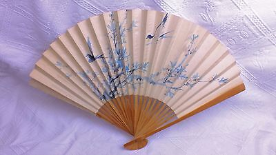 Vintage French Wooden, Paper Hand Fan, Hand Painted Bird Design