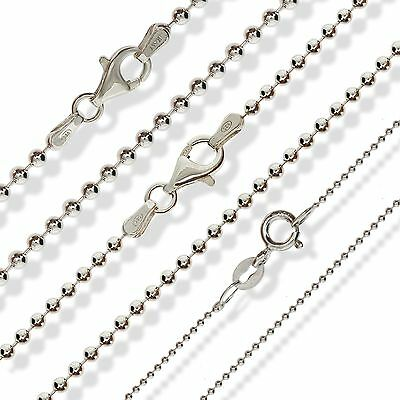 925 Sterling Silver Bead Ball Chain 16 18 20 22 24 30 Dog Tag Pendant Necklaces