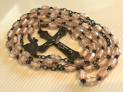 Antique Silver Marked Rosary Pink Crystal Glass Cut Beads Nice Crucifix & Medal