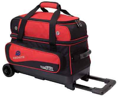 Ebonite Transport 2 Ball Roller Bowling Bag with Wheels Color is Red