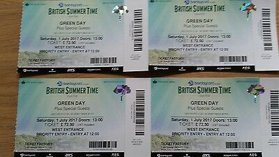Green Day BST Festival tickets Hyde Park 1st July Priority Entry - 3 available