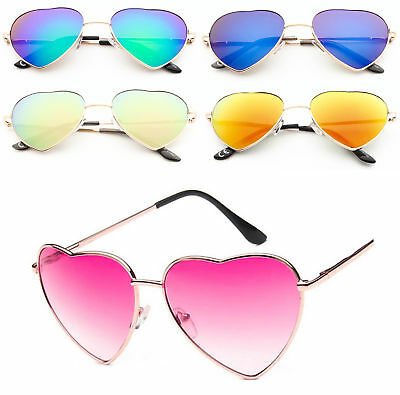 Ladies Heart Shape Sunglasses Hot Pink Gold Boho Festival Fancy Dress Party