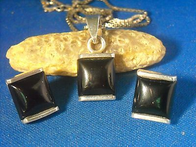 Vintage Sterling Silver Art Deco ONYX EARRINGS & PENDANT NECKLACE SET--ITALY