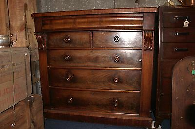 Large Victorian Flame Mahogany Chest of Drawers