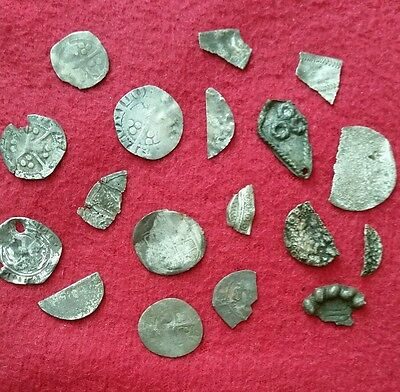 Lot of metal detecting finds - medieval - with interesting silver hammered coins