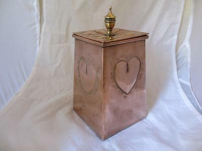 Copper and Brass Arts and Crafts Tea Caddy Antique c.1900. BLA01758