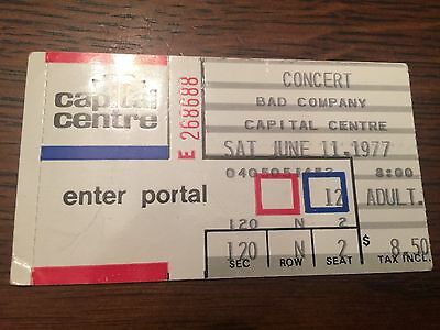 Vintage Bad Company Ticket Stubs Two 4/8/76 and 6/11/77 Capital Centre , MD