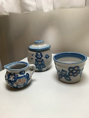M. A. Hadley Set of 3 Pieces (Creamer, Sugar and Votive/Tealight Candleholder)