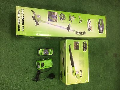 GREENWORKS CORDLESS 24v Set, Line Trimmer And Blower