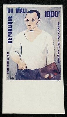 MALI C412 Mint, Never Hinged IMPERFORATE 1981 Self Portrait of Picasso