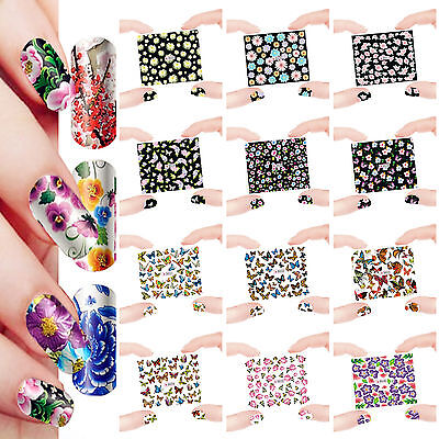 12 Sheets Nail Manicure Tips Water Transfer Decals Sticker Flowers D25-36