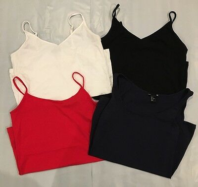 Women's Tank Tops, White, Black, Navy And Red, Lot Of 4, Size M-L