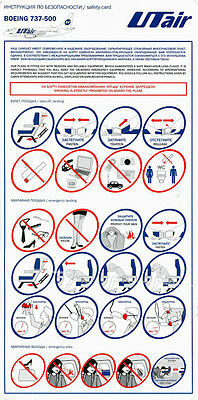 UTAIR AVIATION Boeing 737-500 Safety Card Instructions Russian Airline 2016