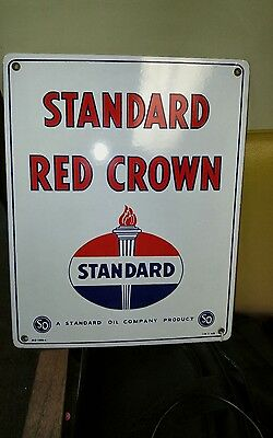 Standard oil sign, Red Crown 1950's PORCELAIN, Nice Condition