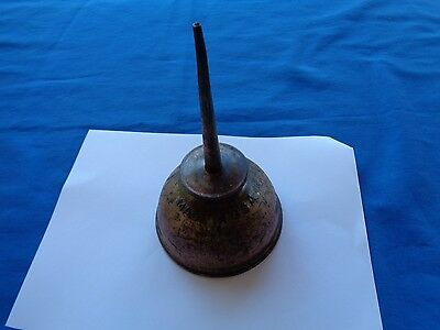 Vintage Metal Thumb Pump Oiler Oil Can copper colored  was used in gas stations.