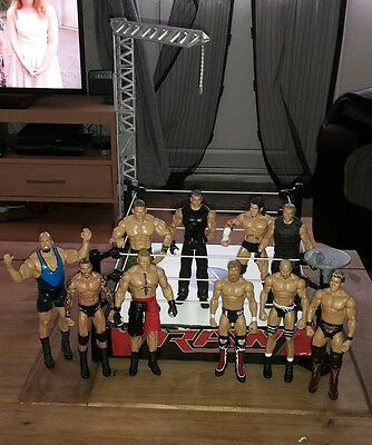 Wwe Wwf Raw Wrestling Ring & 10 Figures  Cena Lesnar Orton Cm Punk Mcmahon Show