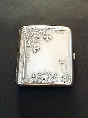 Lovely Art Nouveau Solid Silver Hallmarked Cigarette Case Circa 1900