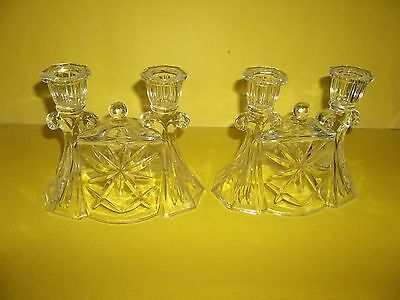 "Antique Star Burst Pressed Glass Candelabras 6"" Pair Dbl Candle Holders"