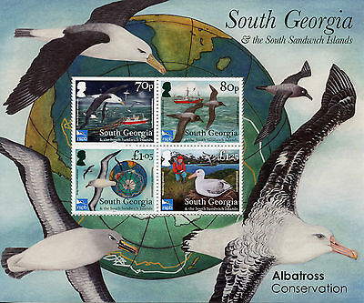 South Georgia & Sandwich Isl 2017 MNH Albatross Consrv RSPB 4v M/S Birds Stamps