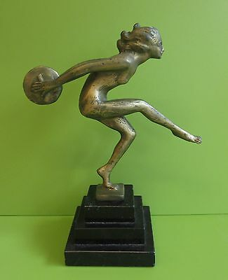 Art Nouveau metal Spelter ? Dancing Lady Figure with disc on stone base -damage