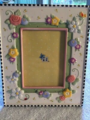 Mary Engelbreit Ceramic Photo Picture Frame Meadow Hostess Embossed Flowers