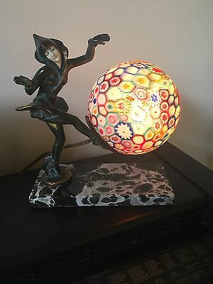 Antique Art Deco Pixie Lady Dancer Statue Lamp Millefiori Sphere Globe Shade Usa