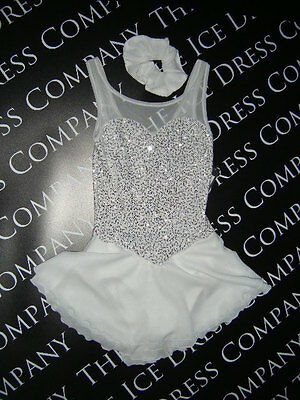 White Sparkle Ice Skating Dress / Roller Dress / Baton Dress Size Age 12/14