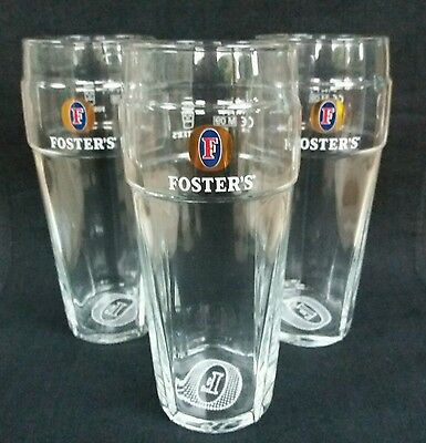 Three Fosters Lager Beer Embosed Pint Glasses - NEW - Ideal for Home Bar - Pub