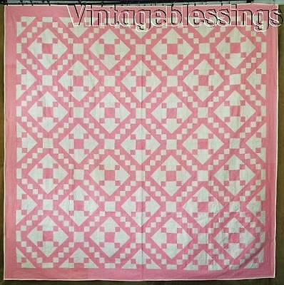 """Gorgeous! Never Used VINTAGE 30s PINK & Cream Jacobs Ladder QUILT 83"""" x 83"""""""
