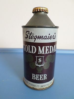 Vintage Rare Stegmaier's Gold Medal W/ Cap Wilkes Barre Cone Top Beer Can GB