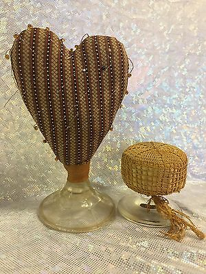 Two Vintage Antique Sewing Pin Cushions Glass Bases Heart Shaped