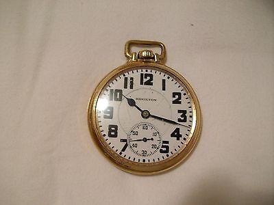 Hamilton Railroad Model 10K Gold Filled Pocket Watch. Running