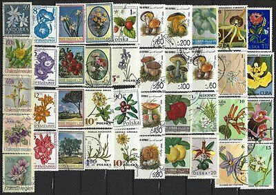 FLORES - FLOWERS - Lot stamps, used - 2 scanns