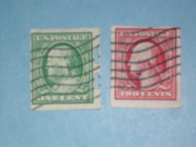 One cent Franklin & two cent Washington - Imperforate - Used
