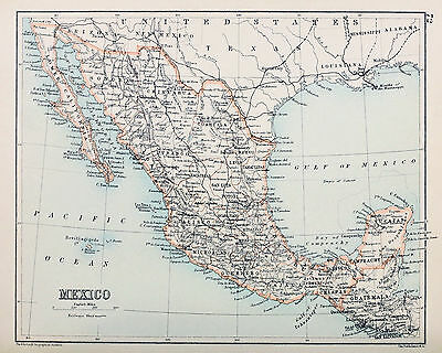Map of mexico 8 X 10 Print  Printed 1892