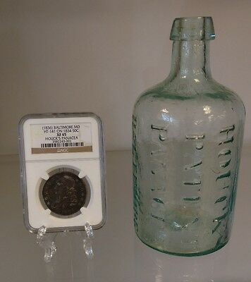 1836 Houcks Panacea Counterstamp NGC Bust Half W 1840s Original Aqua Bottle WOW!