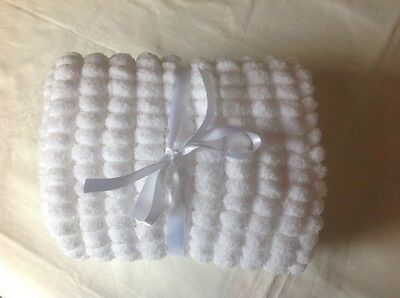 Hand Knitted Pompon Baby Blanket (Car seat/Buggy/Moses Basket) in White