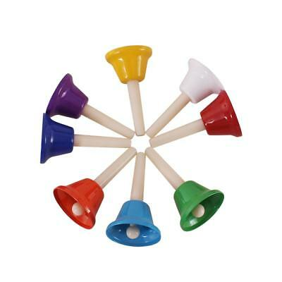 8pcs Diatonic Handbells Polychrome Bells Set Kids Rhythm Musical Toy Gift