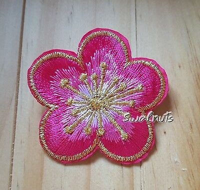 PINK & GOLD Iron on Transfer Embroidered Daisy Flower Patch Applique Motif Badge