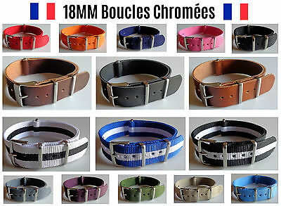 ★ 18MM ★ Bracelet Montre Watch Band Strap Nylon Nato Militaire Army Bond 007