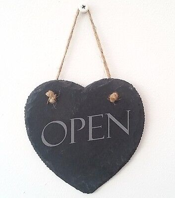 Heart shaped hanging Slate shop sign Open / Closed