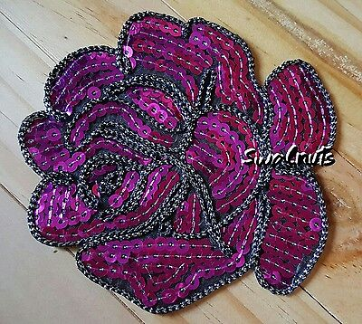 PURPLE Iron on Peony Rose Flower Sequin Embroidered Patch Applique Motif Badge